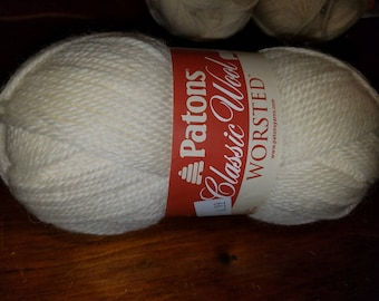 New PATONS CLASSIC Wool Worsted Yarn 1 skein 100g 100% Wool Winter White