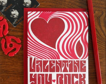 letterpress fillmore poster inspired valentine you rock greeting card rock and roll psychedelic concert poster retro vintage style