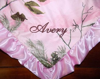 Personalized Baby Blanket, Camo Baby Blanket, Personalized Baby Blanket, Baby Girl Blanket, Pink Camo Baby Blanket, Personalized Baby Gift