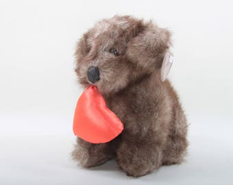 Heartwarmers, Adorable, Puppy, Holding a Heart, Soft, Plush, Brown Fuzzy, Dog, Vintage, Valentines, Sweet, Love ~ The Pink Room ~ 170613