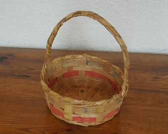 """Vintage Woven Wicker Easter Basket Round Style Mexico 10"""" Tall"""