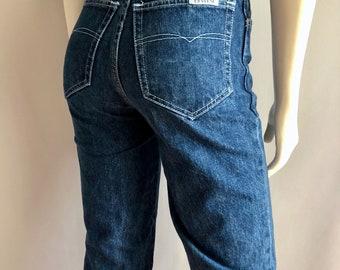 Vintage Women's 70's Reverse, High Waisted Jeans, Dark Wash, Denim, Long (S)