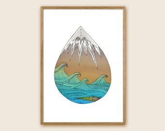 "Mountain and Sea Print - ""Mocean"""