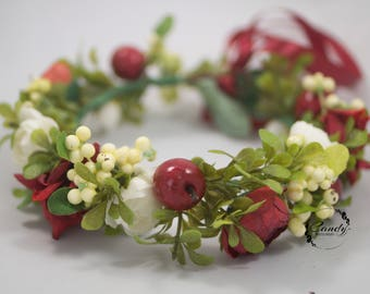 Flower crown, wreath, headband, Christmas berries, ivory, red, photo prop,  bride, wedding flowers, hairpiece, headpiece