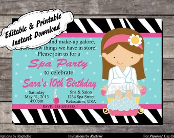 Spa Party Invitation Birthday Party - Editable Printable Digital File with Instant Download