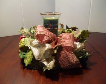 Thanksgiving  candle  ring centerpiece  /Seasonal Decor