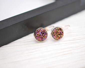 Pink Rose Gold Earrings, Pink Earrings, Rose Gold Jewelry, Pink Gold, Pink Druzy, Druzy Earrings, Faux Druzy Earrings, Faux Druzy, Rose Gold