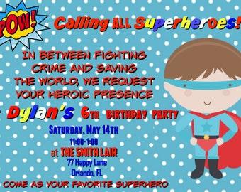 Boy Superhero Birthday Invitation