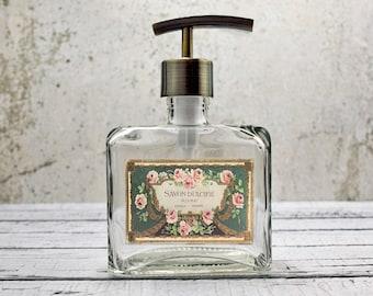 Glass Soap Dispenser   French Country Bathroom Decor   Floral Decor   Hand Soap Dispenser   Paris Decor   Bronze Bathroom Accessories