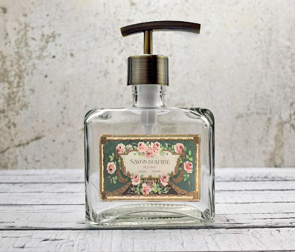 glass soap dispenser french country bathroom decor floral. Black Bedroom Furniture Sets. Home Design Ideas