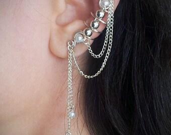 Silver Ear Cuff with Chain Silver plated Chain Ear Wrap