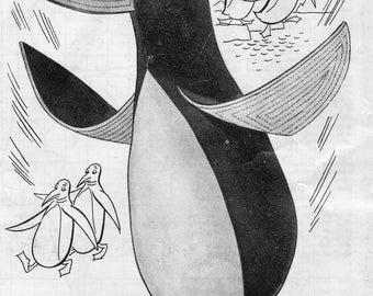Penguin Pattern, Vintage Toy Pattern, Felt Toy Pattern, 1950's, Digital Download, PDF Sewing Pattern, epattern