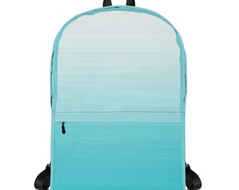 White to Robins Egg Gradient Ombre Painted Appearance Art Backpack