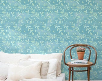 Boho decal, Leaves wallpaper, Watercolor removable wallpaper, Bohemian wall sticker, BW057