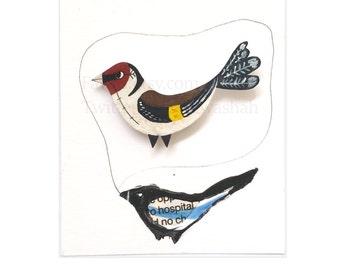 Goldfinch Bird Brooch, Hand Painted, Animal Illustration, Badge, pin, Jewellery, Jewelry, British Bird, Garden, Bird Lovers, Finch, Bird