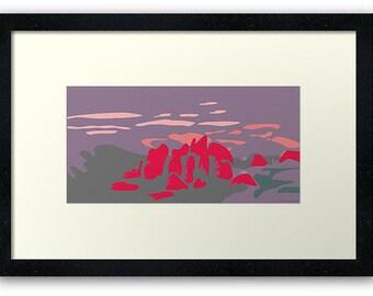 Abstract print artwork Kata Tjuta, The Olgas, Australia.