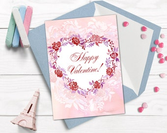 Valentine card, Romantic card printable, Watercolor love card,  Valentine day greeting card.