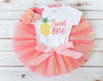 Pineapple first birthday 'Rachel' pineapple birthday outfit girl, sweet one first birthday fruit birthday outfit, summer first birthday girl