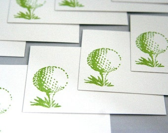 Golf Ball on Tee Enclosure or Correspondence Card Set of Ten Wedding Guest Book Alternative Tiny Gift Cards Golf Wedding Place Cards