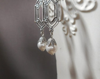 Art Deco Wedding Earrings - 1920s Bridal Jewelry - Pearl Earrings - Silver Earrings - Great Gatsby - Downton Abbey Style - Womens Jewelry