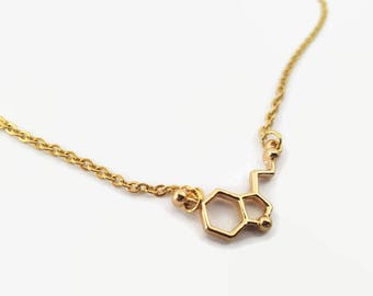Gold Serotonin Molecule necklace, Stainless steel Serotonin, Happiness necklace, gold Chemistry jewelry, gold unique molecule necklace