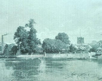 Kingston from the river art antique english print landscape black and white mounted antique victorian book engraving