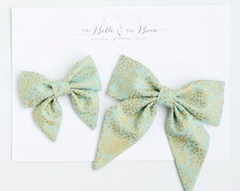 Hair Bow, Sailor Bow, Bow Headband, Headband, Fabric Hair Bow, Hair Clip, Baby Bow, Nylon Headband, Alligator Clip - Champagne Mint