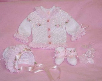 Baby Knitting patterns ref:11 Frilly Edged Cardi, booties and bonnet