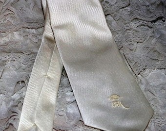 Vintage Countess Mara Tie - White - New Old Stock  - New York - 100% Polyester - Made in USA - Original Tag