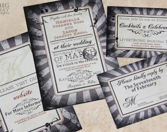 NeoClassic, Steampunk Wedding Invitation set. Goth style wedding invitations with a steampunk twist.