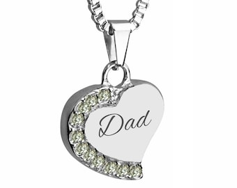 Dad Heart With Crystals Urn Necklace Pendant - Memorial Ash Keepsake - Cremation Jewellery
