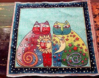 "Cute Cat Fabric Linen Cotton Fabric Cats Lover Fabric Pillow Cushion Bag Panel Fabric,One Panel 19""x 19"" (50cm X 50cm) h67c"
