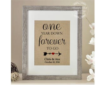 One Year Anniversary Gift, One Year Down Burlap Print, Gift for Husband, Gift for Wife 1st Anniversary Gift for Husband, Anniversary Gift