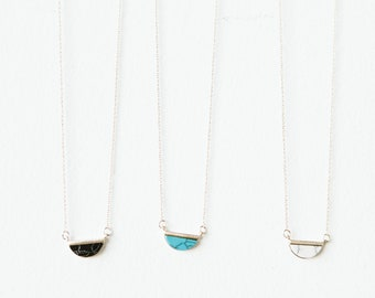 Demi-Lune Necklace // Onyx, Turquoise or Howlite