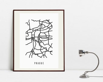 Prague Abstract Map - Black and White Art Print -  Digital Download Art Print