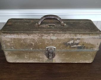 Metal Tackle Box - Antique Tool Box - Rustic Toolbox, Vintage Tool Box, Liberty Steel Company, Garage Storage Container