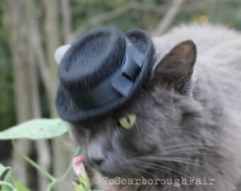 Cat Hat - Heisenberg Cat Hat - Breaking Bad Inspired Cat Hat - Hand Felted Wool Pork Pie Hat-