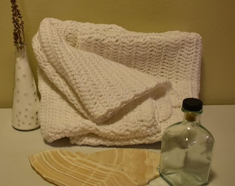 White Cotton Crocheted Throw