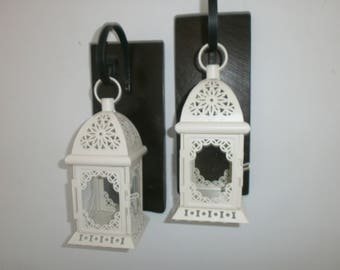 Two White Morrocan lantern Sconces Rustic Hanging Lanterns Lantern pair Wall decor Wall sconce Reclaimed Pallet Wrought iron hook