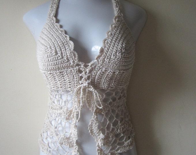 crochet halter top, crochet lingerie, summer top,  crochet bikini top, hippie top, crochet festival top, festival clothing, camisole, gift