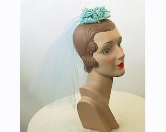 1960s fascinator, hat with veil, blue net hat, silk flower hat, silk flower hair comb, bridesmaid hat