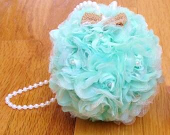 "Mint Green, Kissing Ball, Wedding Pomander, Choose 4"" or 5"", Flower Girl, Flower Ball, Decorations, Rose Kissing Ball, Pew Bow,Free Hair Pin"
