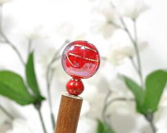 "Red Hairstick Wood Hair Stick Red Hair Pin Japan Hair Stick Beaded Hairstick - ""Red Skies"""