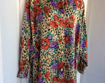 80s floral one size top blouse silk vintage loose baggy roses funky