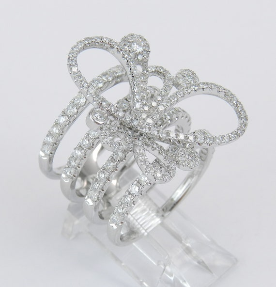 18K White Gold Diamond Modern Butterfly Ring Multi Row Anniversary Band Size 6