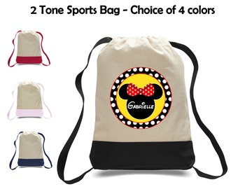 Personalized Minnie Mouse Ears Two-Tone Canvas Sports Bag Backpack - Great for School, Preschool, Camp, Sports, Activities & More!