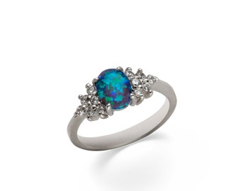 Princess. Charming Handmade Sterling Silver or 14K Gold Amazonian Opal and Zircon Ring. Opal ring for women. For her.All sizes.Czech jewelry