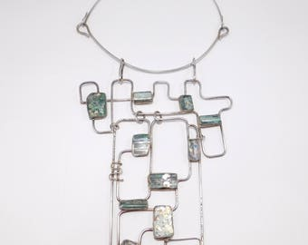 Jackie Cohen Modernist Sterling Roman Glass One Of A Kind Sculptural Necklace