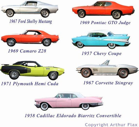 Classic muscle cars set of two wall decals stickers vintage
