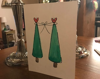 Christmas Watercolor Card for Friends or Family